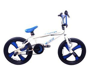 XN-10-20 Vélo pour Enfant Freestyle BMX 20″ MAG Roue Gyro Single Speed Junior (Blanc/Bleu)
