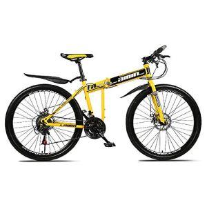 XUELIAIKEE Acier De Carbone 26 Pouces Pliage VTT Engrenages Vélo Double-Suspension Shimonos VTT Vélos Homme Et Les Femmes Anti-dérapant Urbain Route Ville Vélos