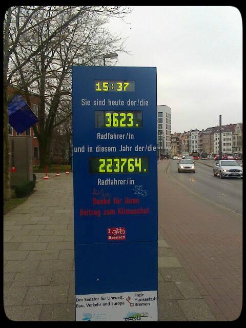 Contador de bicicletas em Bremen. Quem souber estrangeiro, entende a mensagem.