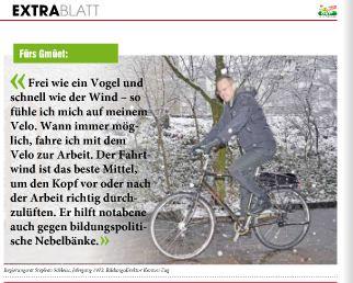 Ausriss aus dem «Extrablatt» der SVP: Der Zuger Regierungsrat Stephan Schleiss auf dem Velo.