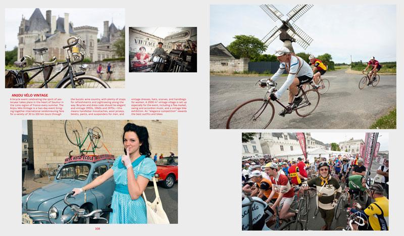 Bilder vom Anjou Vélo Vintage in Saumur an der Loire, Frankreich, Cartoons von Ugo Gattoni, die Velo-PR-Aktion einer New Yorker Agentur: Beispiele von zwei Doppelseiten aus dem Buch «Velo - 2nd Gear».