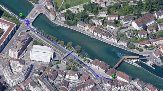 Zwischen Geissmattbrücke (A) und Pfistergasse (B) baut die Stadt Luzern eine neue Veloverbindung. (Bild: Google Maps / Stadt Luzern)