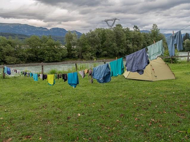 Grosse Wäsche: auf dem Zeltplatz in Spittal. | © 2018 Dominik Thali