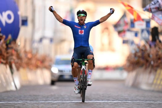 European championships: Sonny Colbrelli outsprints Remco Evenepoel for road race title