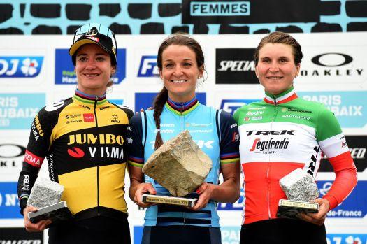 Here's what Marianne Vos and Elisa Longo Borghini said after Lizzie Deignan rides off with Paris-Roubaix Femmes