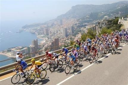 Cancellara leads the race out of Monaco.