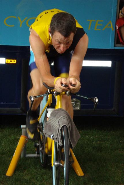 LA warms up for his time trial.