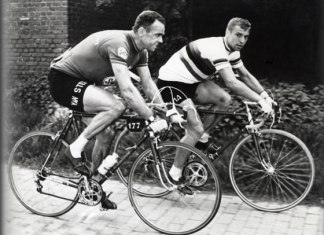 Two Riks; van Steenbergen chats to World Champ van Looy.