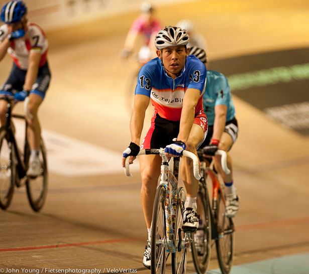 Seb Lander takes a breather during the Madison.