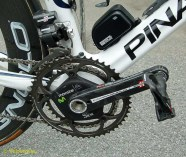 Movistar debuted Campag electronic in le Tour, last year and stick with it for 2012 on their Dogmas. The team sticks with the conventional position for the battery box, just below the down tube bottle cage.