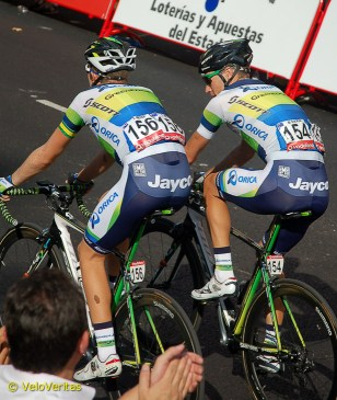 GreenEDGE's Travis Meyer and Mitch Docker roll in.