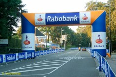 The next landmark is the casino where the big Rabobank arch is – it's not a proper bike race in The Netherlands if Rabobank aren't involved.