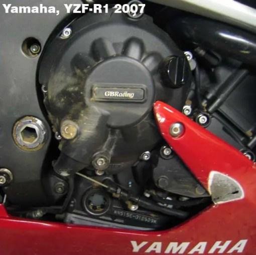 EC-R1-2007-2-GBR YZF-R1 GEARBOX / CLUTCH COVER 2007 - 2008 Donington-CRASH-R1-9-640