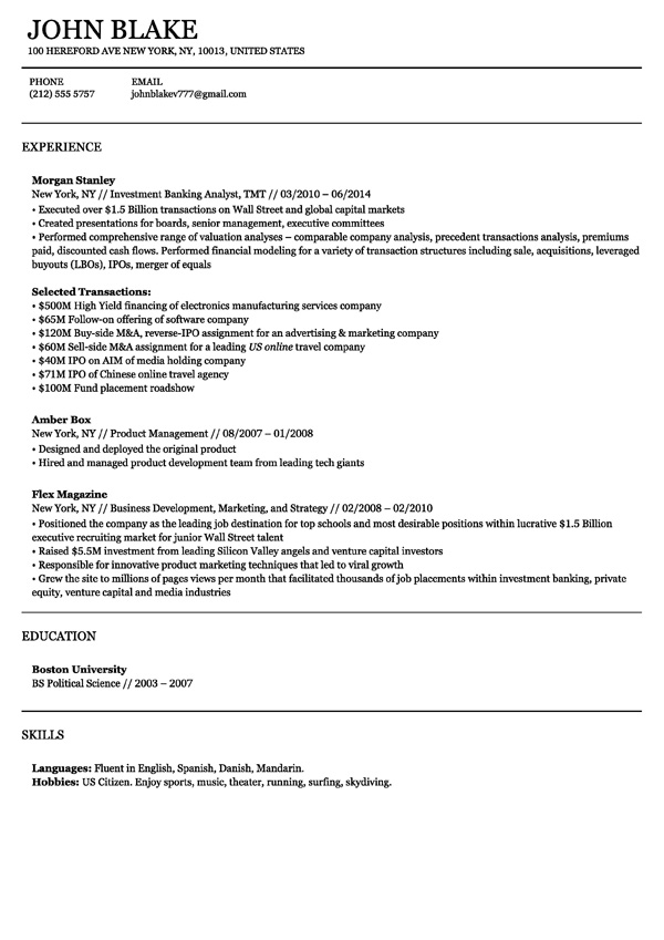 One Job Resume Template. Sample Resume Format For Fresh Graduates