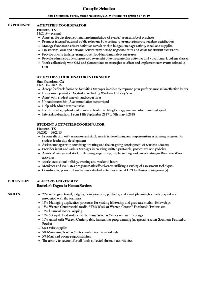 Activities Coordinator Resume Samples Velvet Jobs