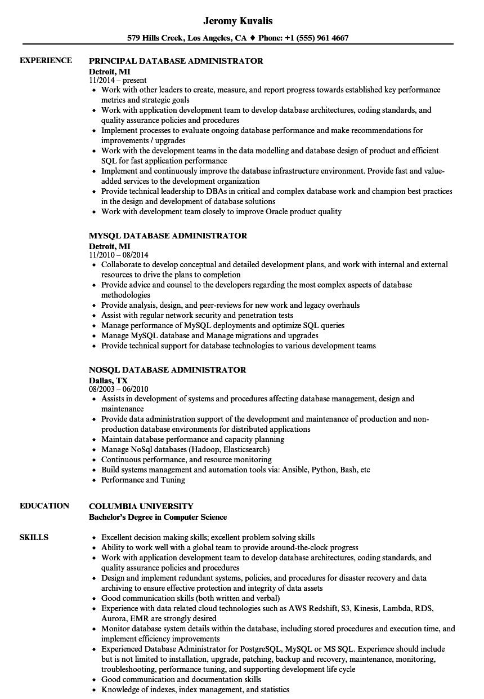 Administrator Database Resume Samples Velvet Jobs