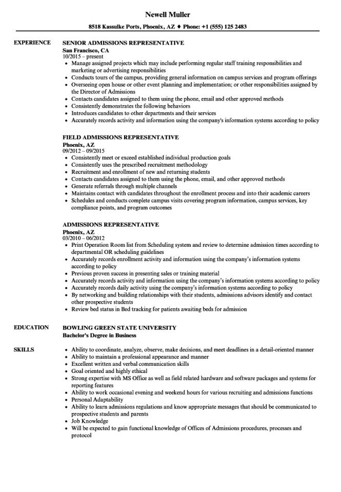 Admissions Representative Resume Samples Velvet Jobs