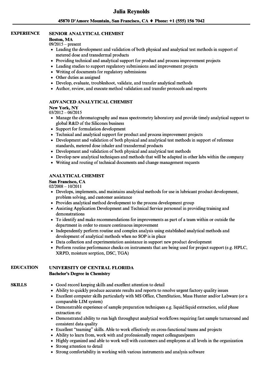 Analytical Chemist Resume Samples Velvet Jobs