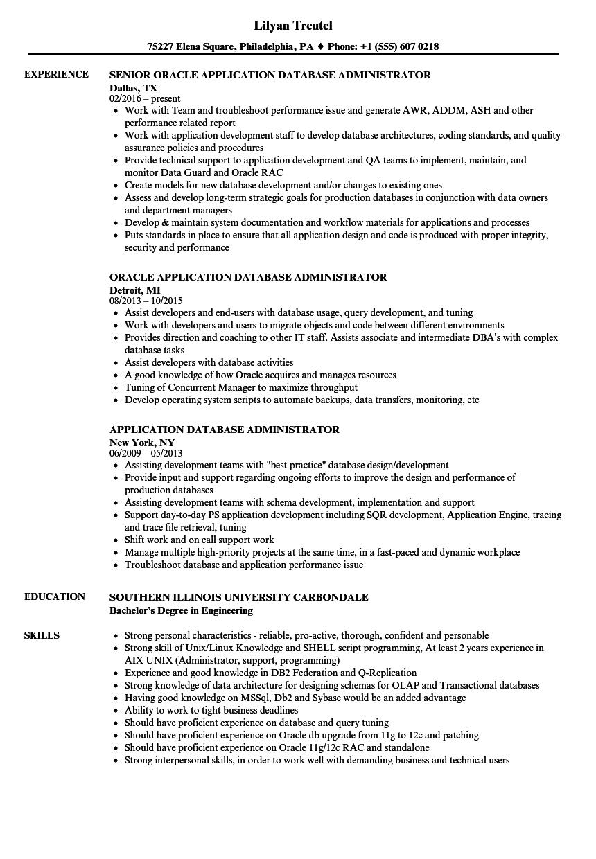 Application Database Administrator Resume Samples Velvet Jobs