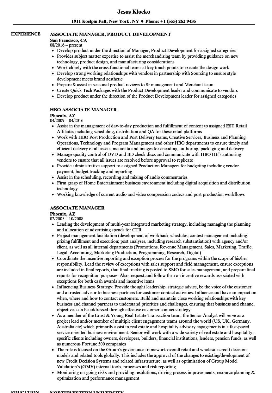Associate Manager Resume Samples Velvet Jobs