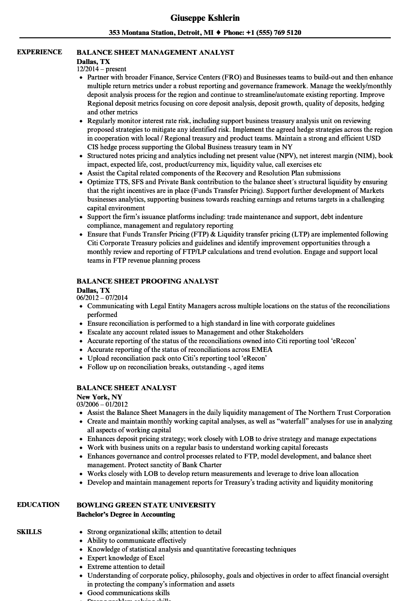 Balance Sheet Analyst Resume Samples Velvet Jobs