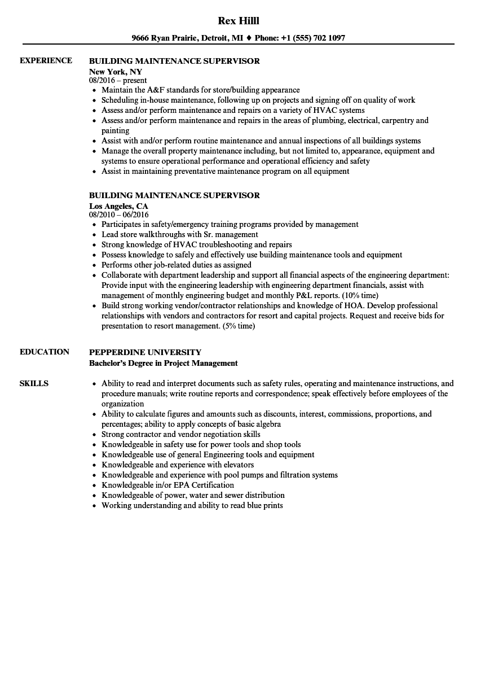 Building Maintenance Supervisor Resume Samples Velvet Jobs