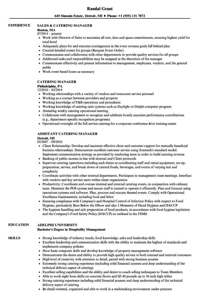 catering manager resume samples velvet jobs - Catering Manager Resume