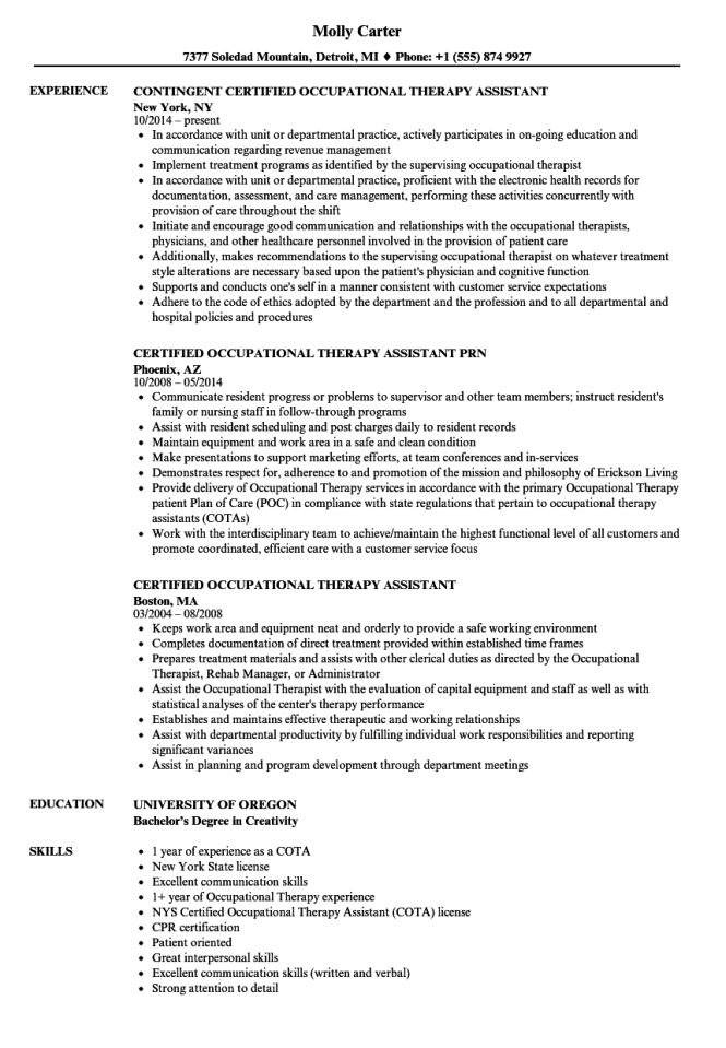 Certified Occupational Therapy Istant Resume Samples Velvet Jobs