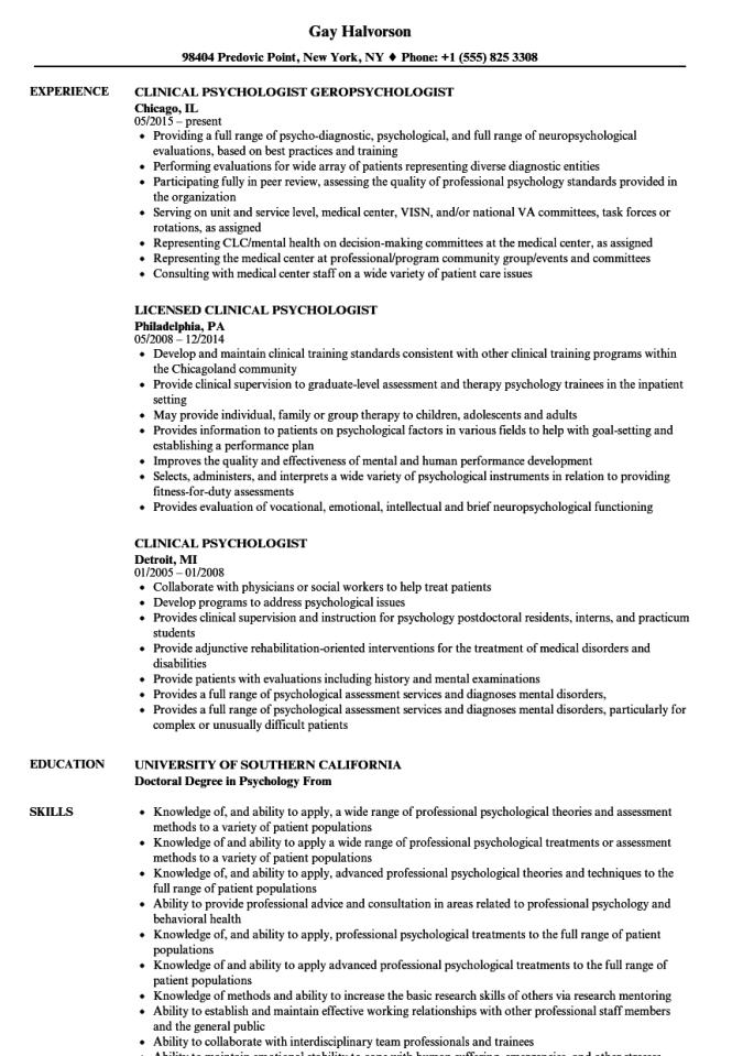 Psychologist Resume - Resume Sample