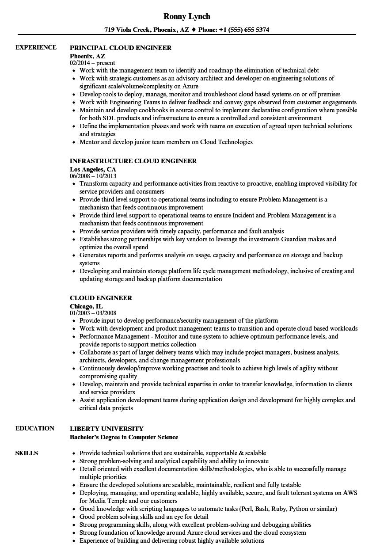 Cloud Engineer Resume Samples Velvet Jobs