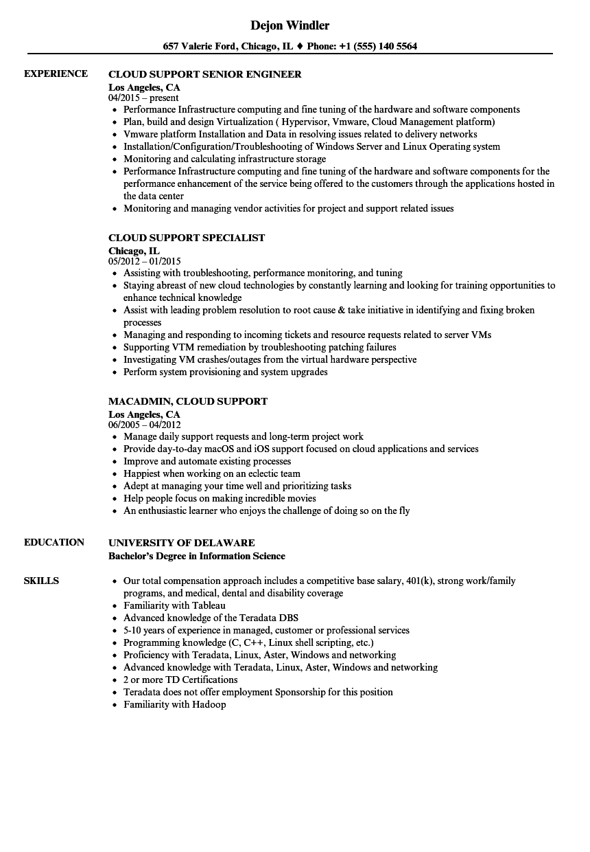Cloud Support Resume Samples Velvet Jobs