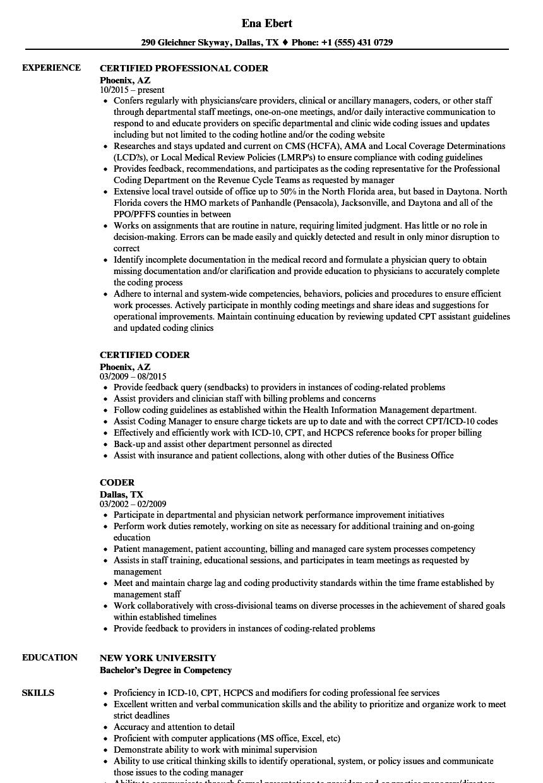 Coder Resume Samples Velvet Jobs