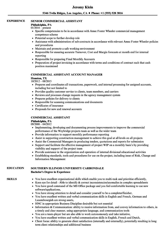 Commercial Assistant Resume Samples Velvet Jobs