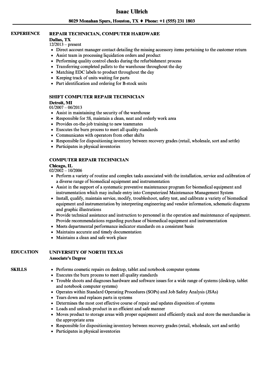 Perfect Computer Technician Support Resume Photo Entry Level