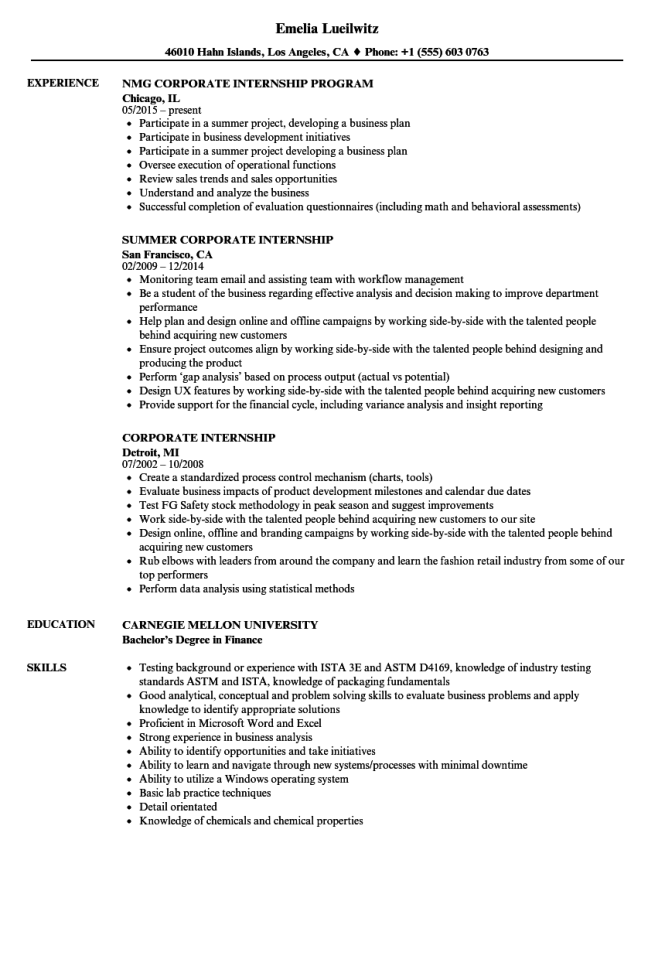 Corporate Internship Resume Samples