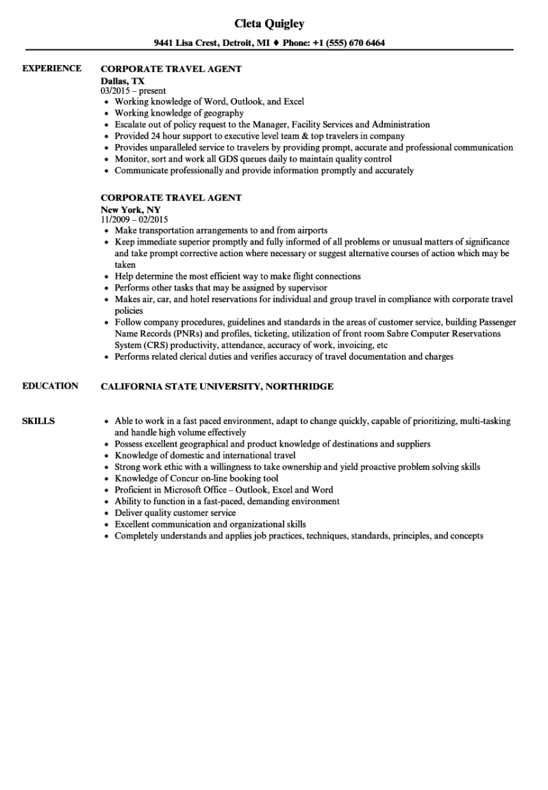 corporate travel agent resume example sportstle com