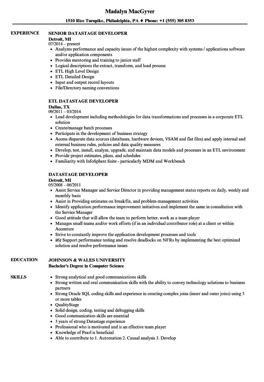 Datastage Developer Resume Samples Velvet Jobs