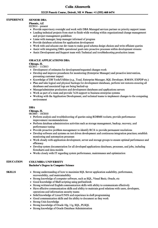 Dba Resume Samples Velvet Jobs