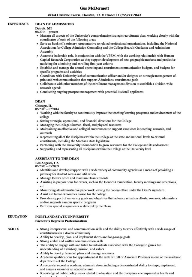 Academic dean resume sample July 28