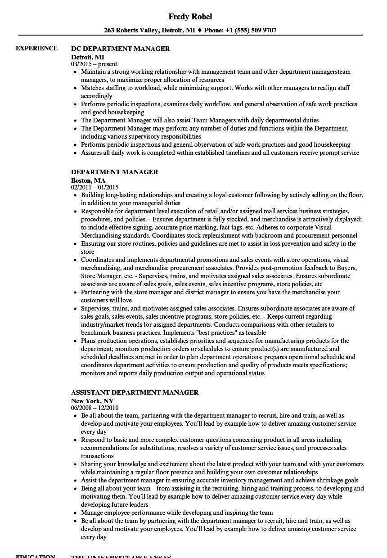Department Manager Resume Samples Velvet Jobs