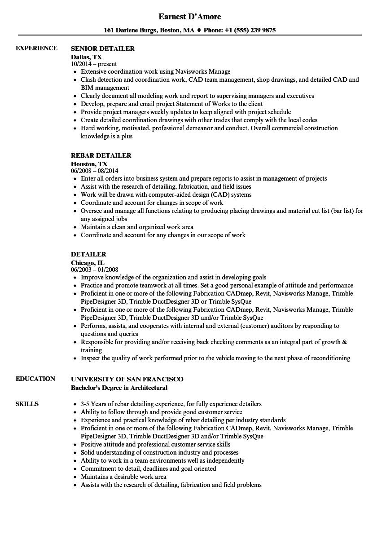 Detailer Resume Samples Velvet Jobs