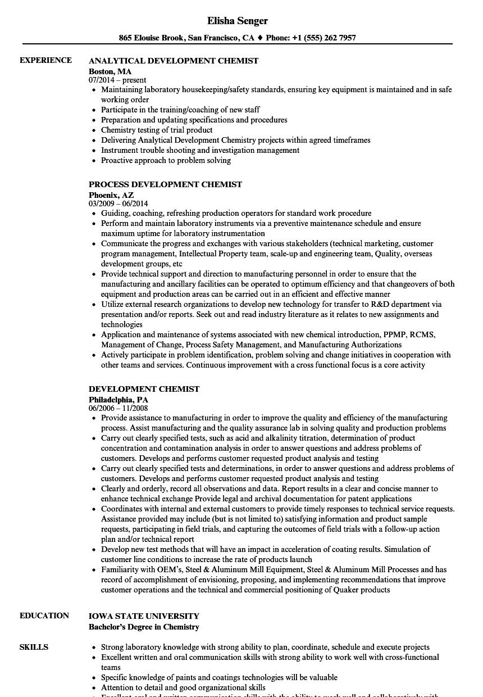Development Chemist Resume Samples Velvet Jobs