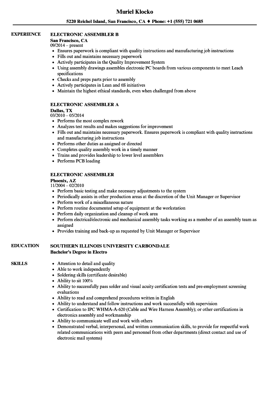 Electronic Assembler Resume Samples Velvet Jobs
