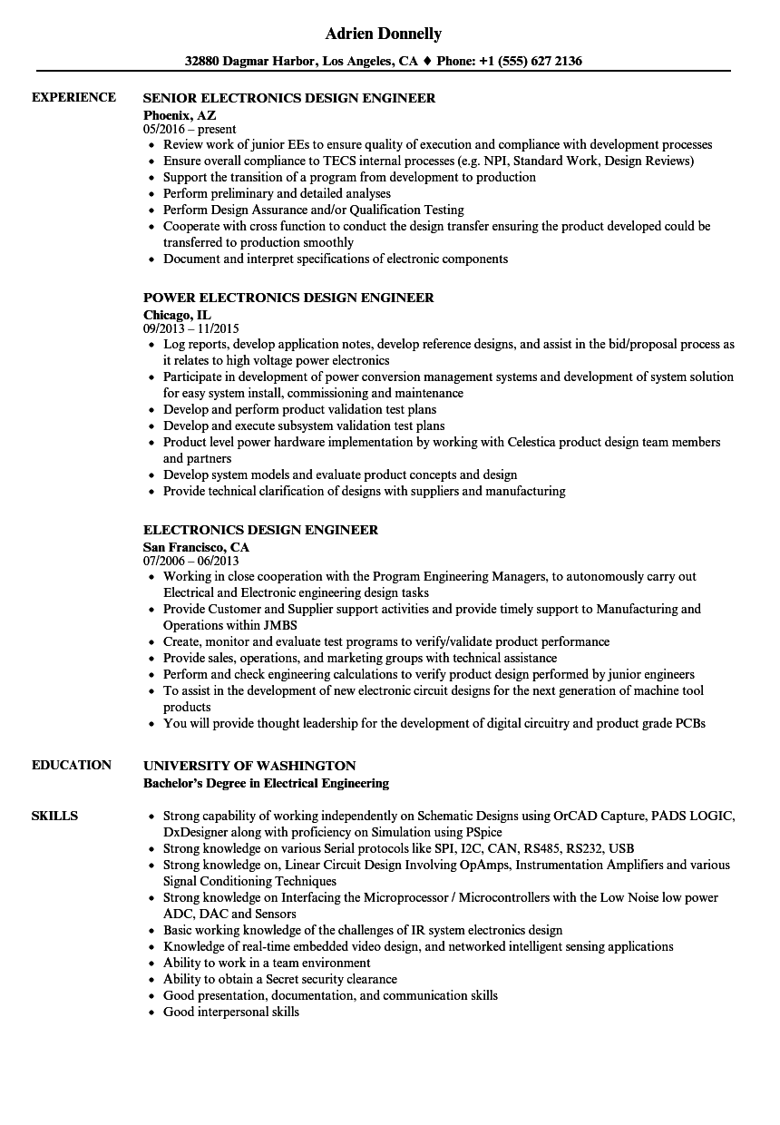 Electronics Design Engineer Resume Samples Velvet Jobs Sample Broadcast  Technician Resume   Sample Broadcast Technician Resume  Manufacturing Resume Samples