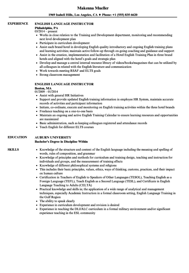 Resume In English Sample Resume Sample
