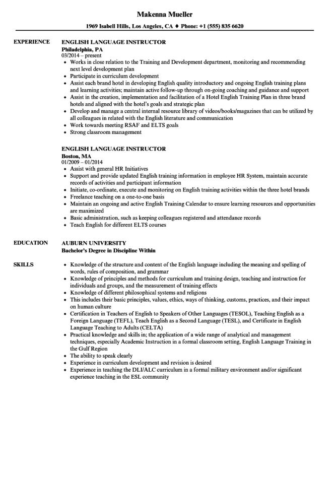 resume in english sample