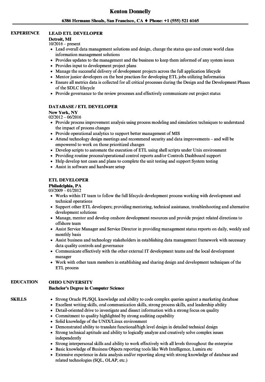 Etl Developer Resume Samples Velvet Jobs