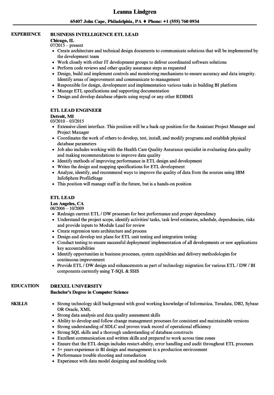 Etl Lead Resume Samples Velvet Jobs