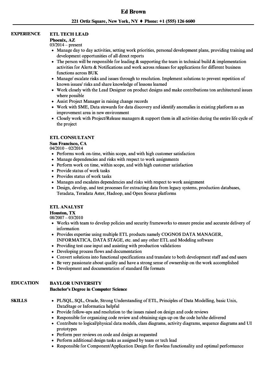 Etl Resume Samples Velvet Jobs