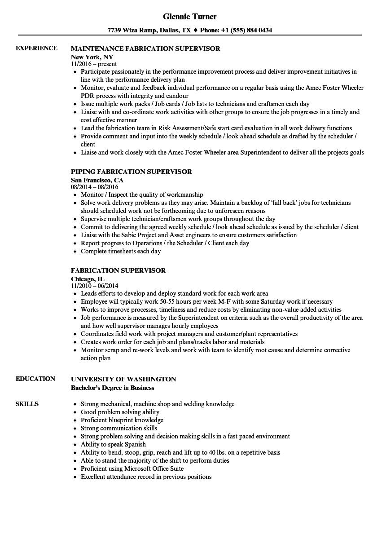 Fabrication Supervisor Resume Samples Velvet Jobs